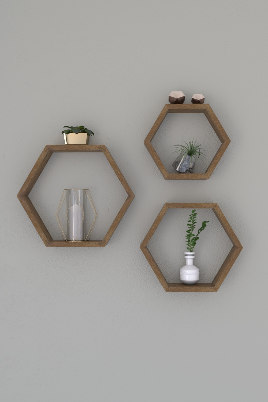 Set 3 Rafturi din lemn Uclu Homs, 40 x 35 x 9 cm, maro