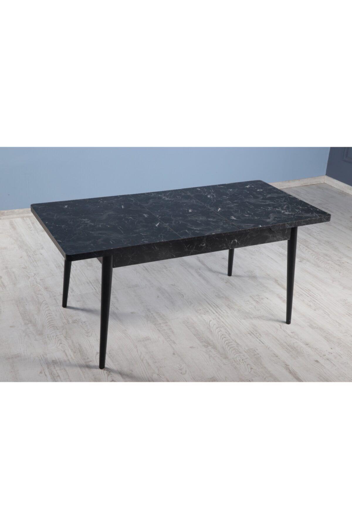 Masa extensibila Dining Homs marmorat negru 170 x 80 cm