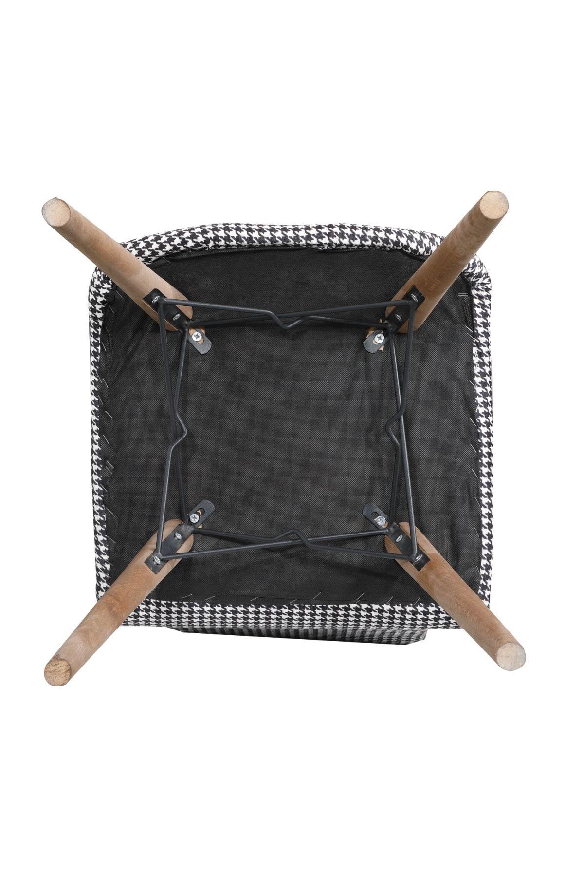 Set masa extensibila cu 6 scaune tapitate Homs nuc-gri 170 x 80 cm