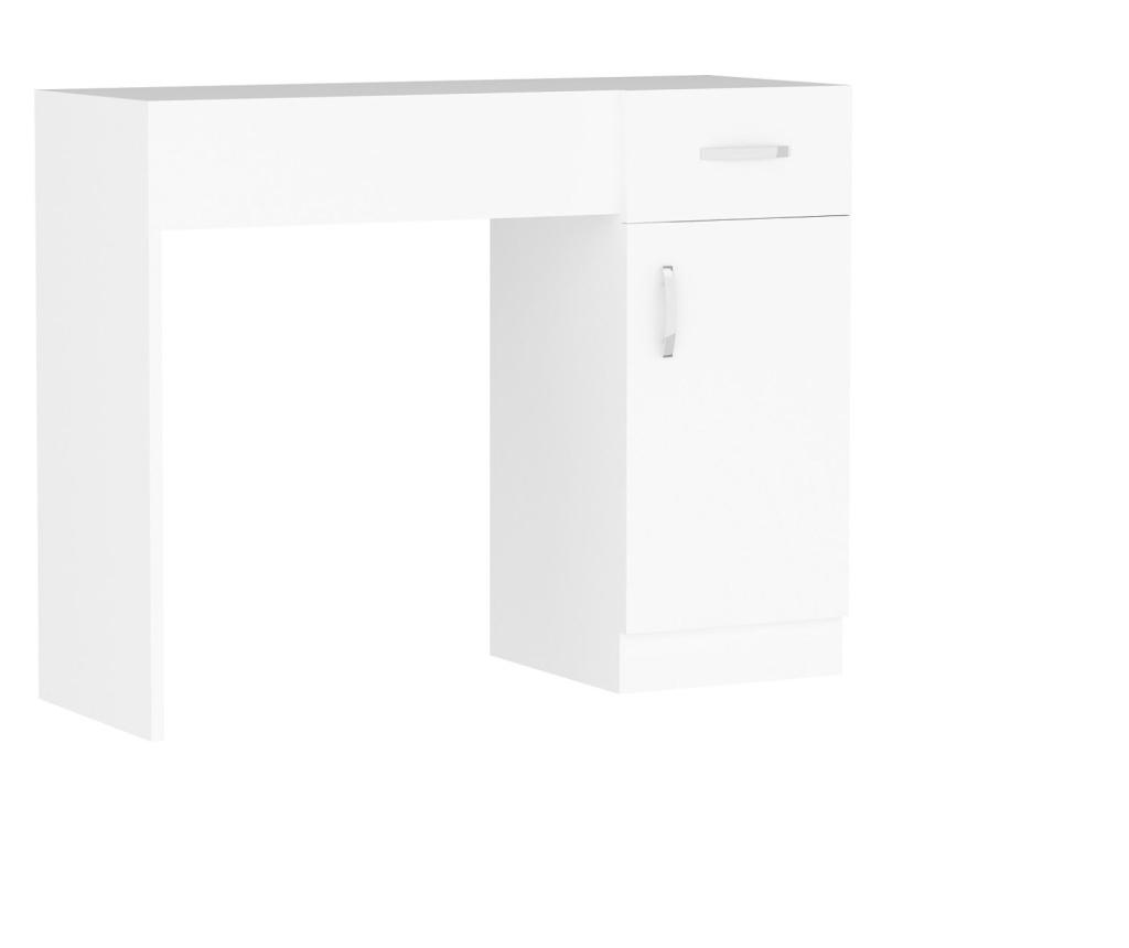 Masa de toaleta cu spatii depozitare Jade, 74.2 x 107.5 x 37.6 cm, alb