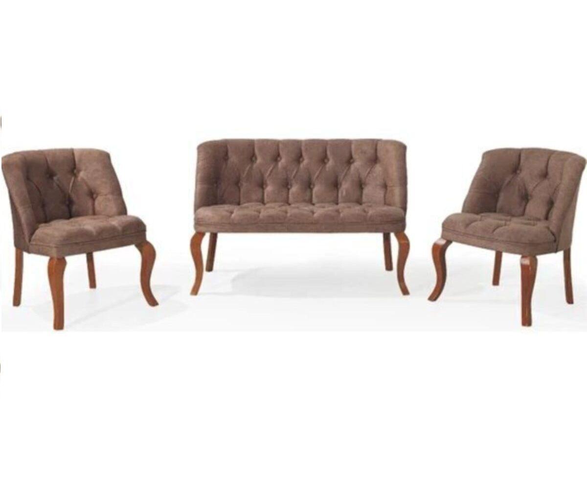 Set canapea 2 persoane cu 2 fotolii, Cafe Homs maro