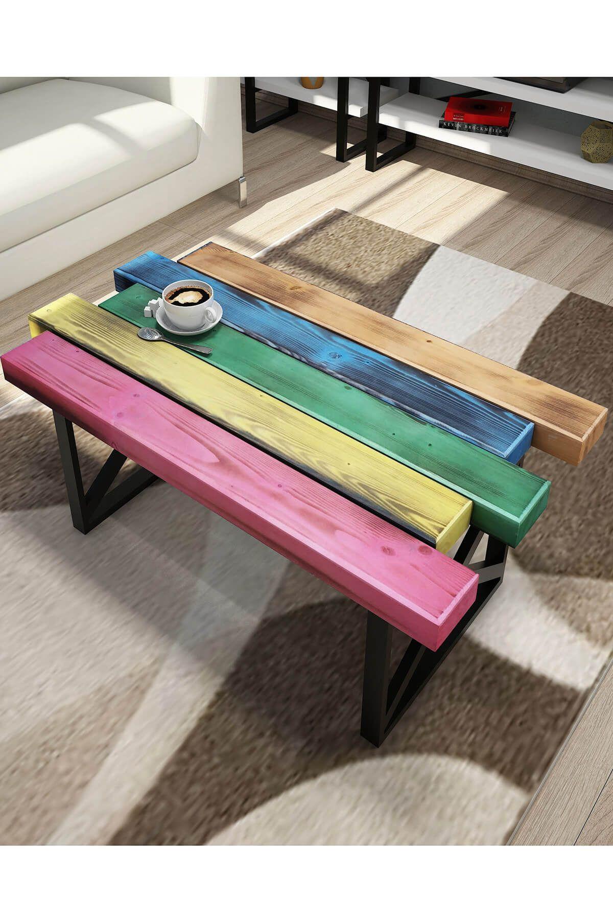 Masuta de cafea, Rainbow Homs, multicolor, 80 x 35 x 50 cm, lemn masiv/metal