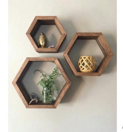 Set 3 rafturi perete Hexa Homs lemn natur