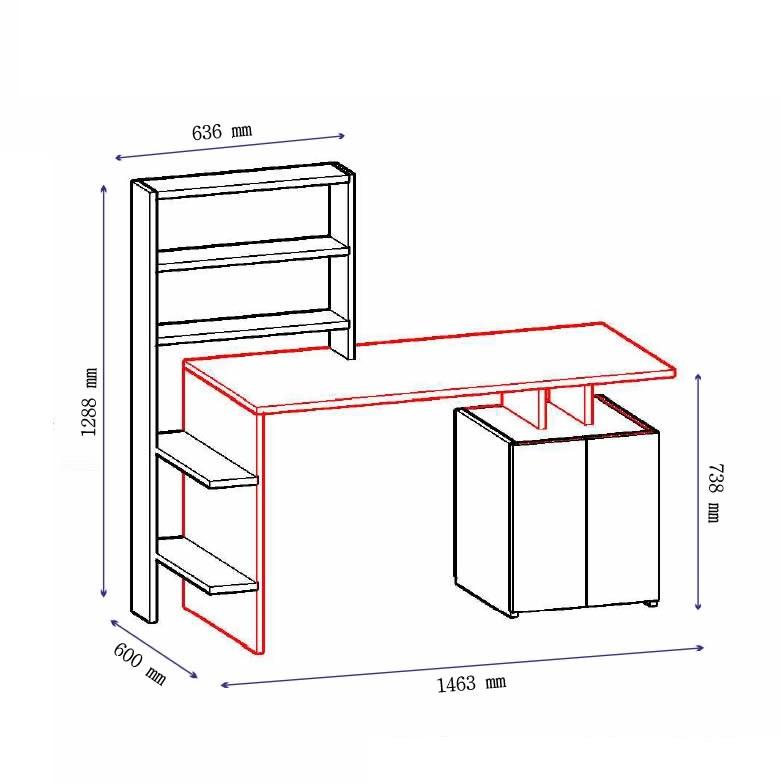 Birou cu biblioteca incorporata Melis, 146.3 x 128.8 x 60 cm, alb/nuc