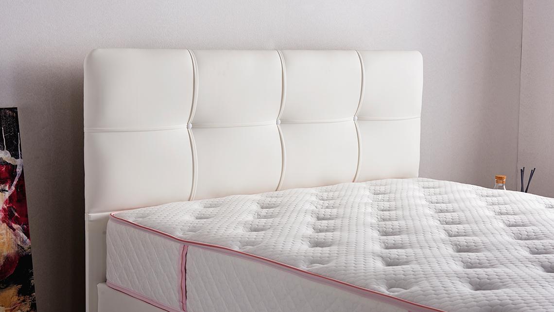 Baza de pat cu tablie si saltea Hypersoft Homs 90x190 cm
