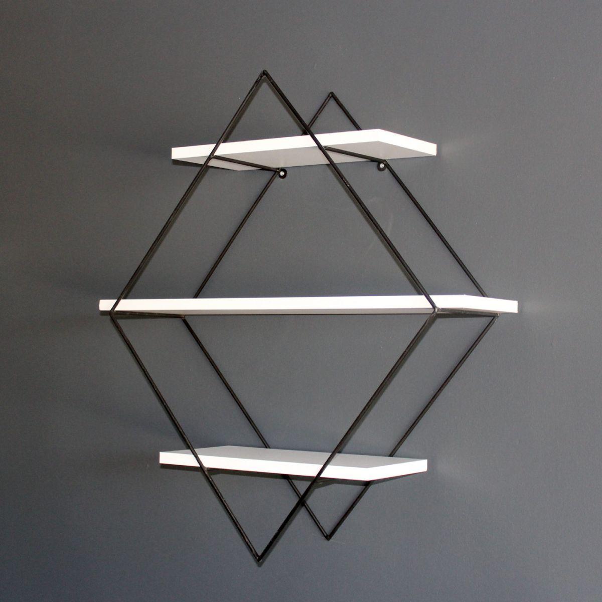 Raft de perete din PAL/metal, Prisma Homs, alb/negru, 41.5 x 21 cm