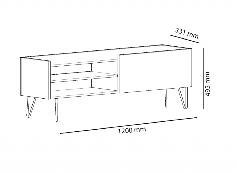 Comoda tv cu picioare metal Veronica Homs, 120 x 49.5 x 33.1 cm, gri/stejar