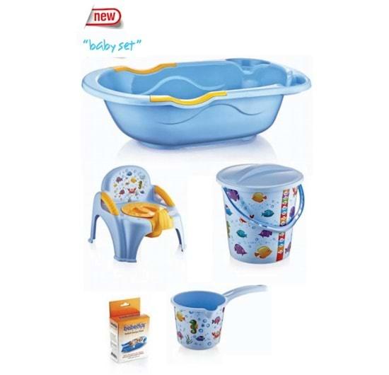 Set baita copii, Baby Homs, cadoul ideal pentru botez, albastru, PVC