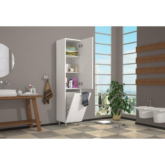 Dulap baie cu cos de rufe, Mondo Homs, alb, 160 x 35 x 34