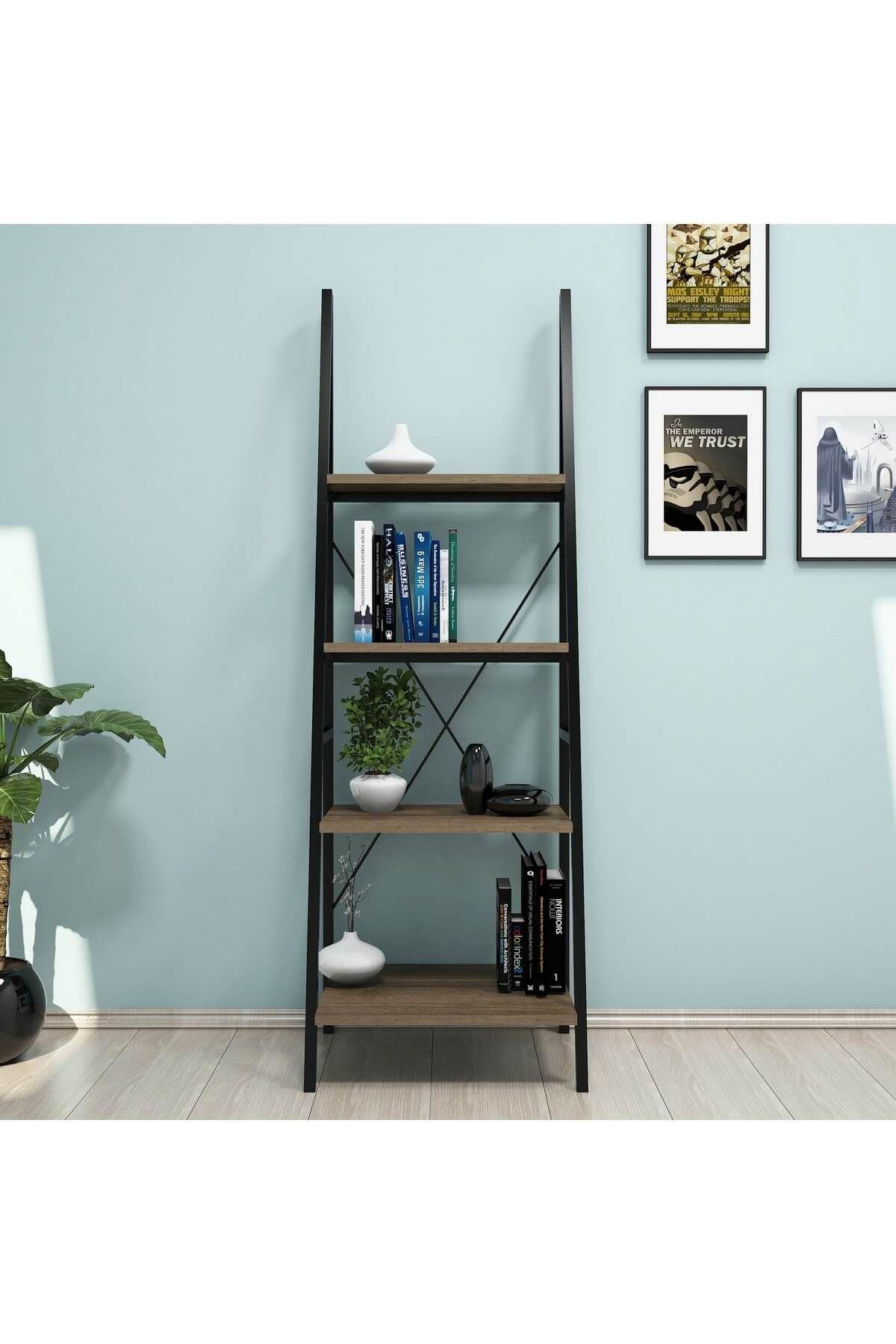 Biblioteca scara metal, Passi Homs, nuc/negru, 150 x 50 x 44 cm