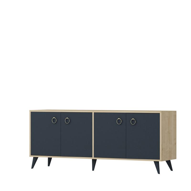 Consola 4 usi Silver Homs, 160 x 75 x 42 cm, stejar/gri