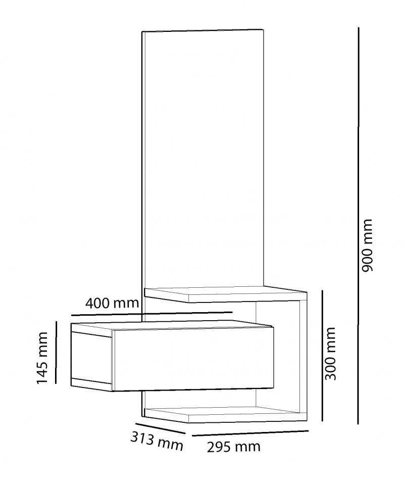 Corp suspendat cu oglinda pentru hol, Stella Homs, 50 x 90 x 31.3 cm, stejar/gri