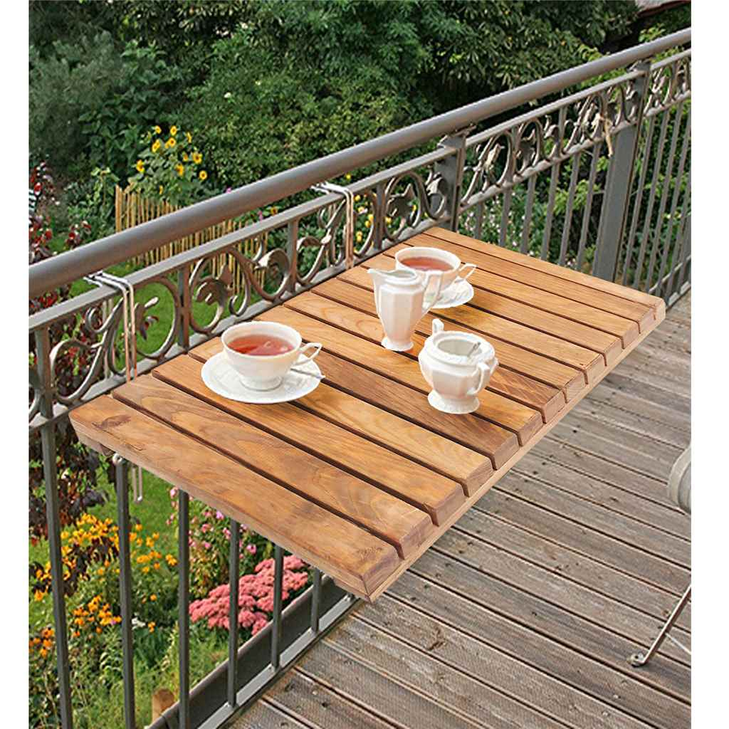 Masa pentru balcon, Paris Homs, natur, 40 x 60 x 2 cm, lemn/metal
