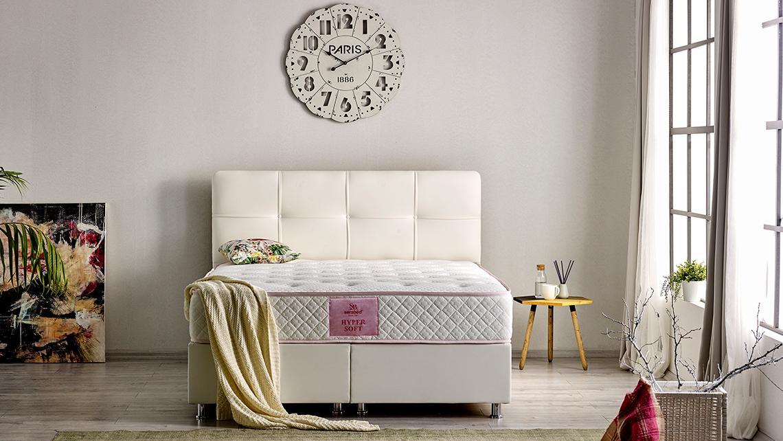 Baza de pat cu lada si tablie tapitata Hyper Soft Homs 140x 190 cm