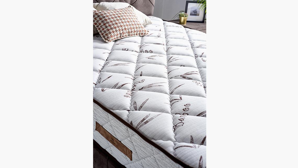 Baza de pat cu tablie si saltea Bamboo Homs 90×190 cm