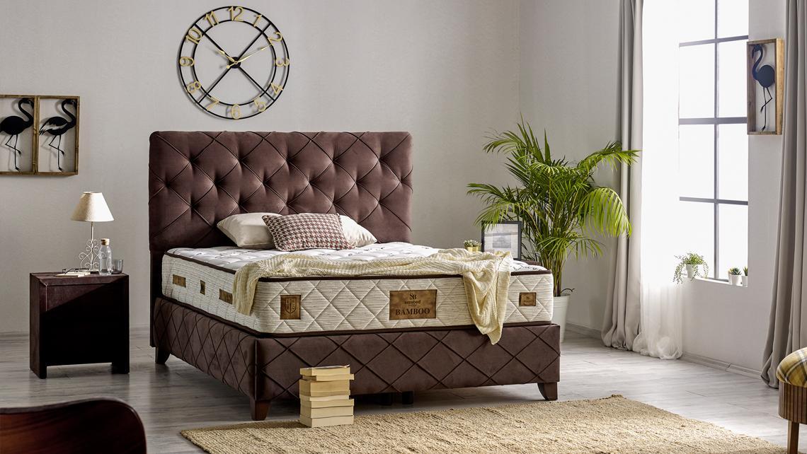 Baza de pat cu tablie si saltea Bamboo Homs 180×200 cm