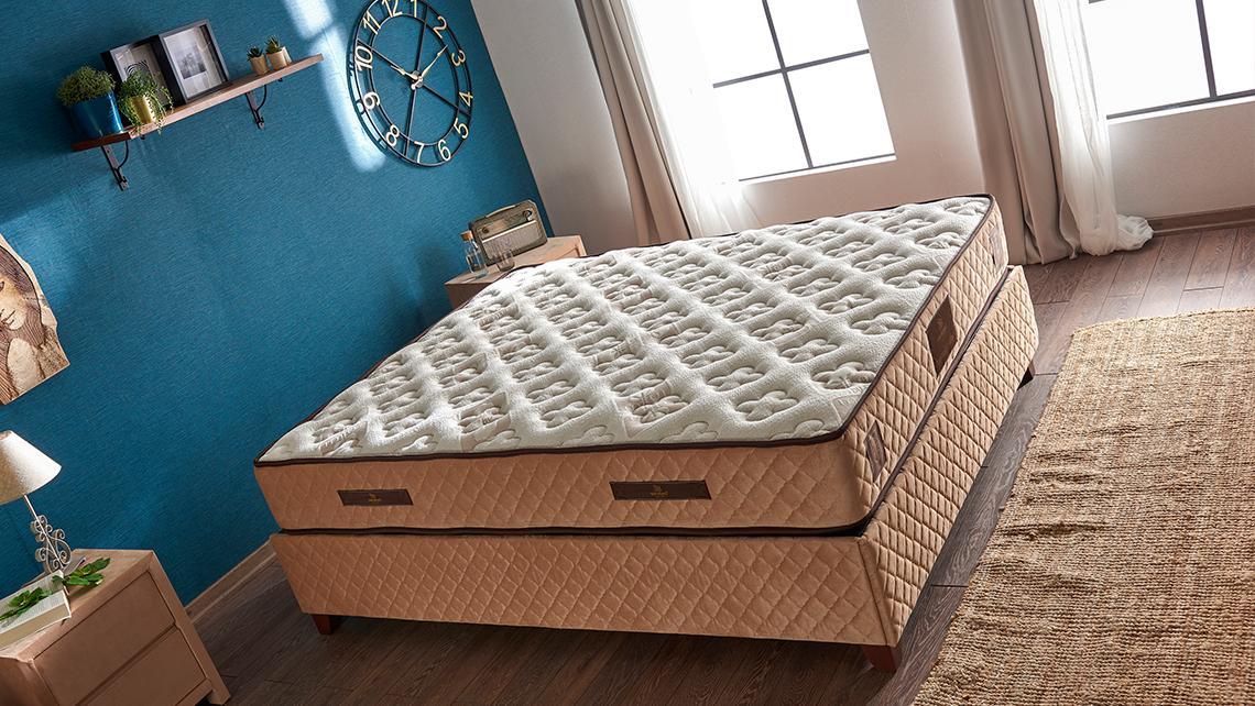 Baza de pat cu tablie si saltea Organic Cotton 160×200 cm