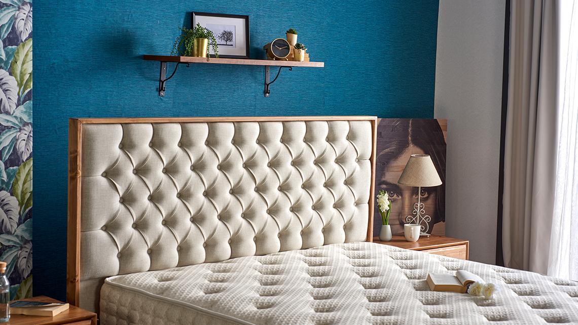 Baza de pat cu tablie si saltea Natural Linen Homs 120× 200 cm