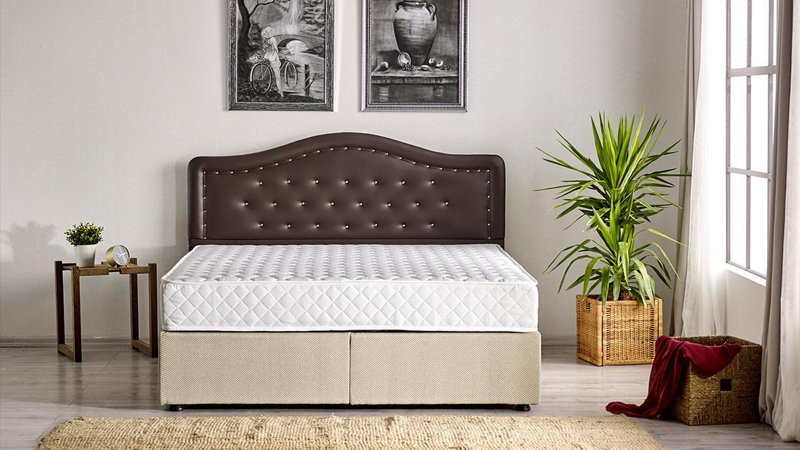 Baza de pat cu tablie si saltea Polo Homs 90x200 cm