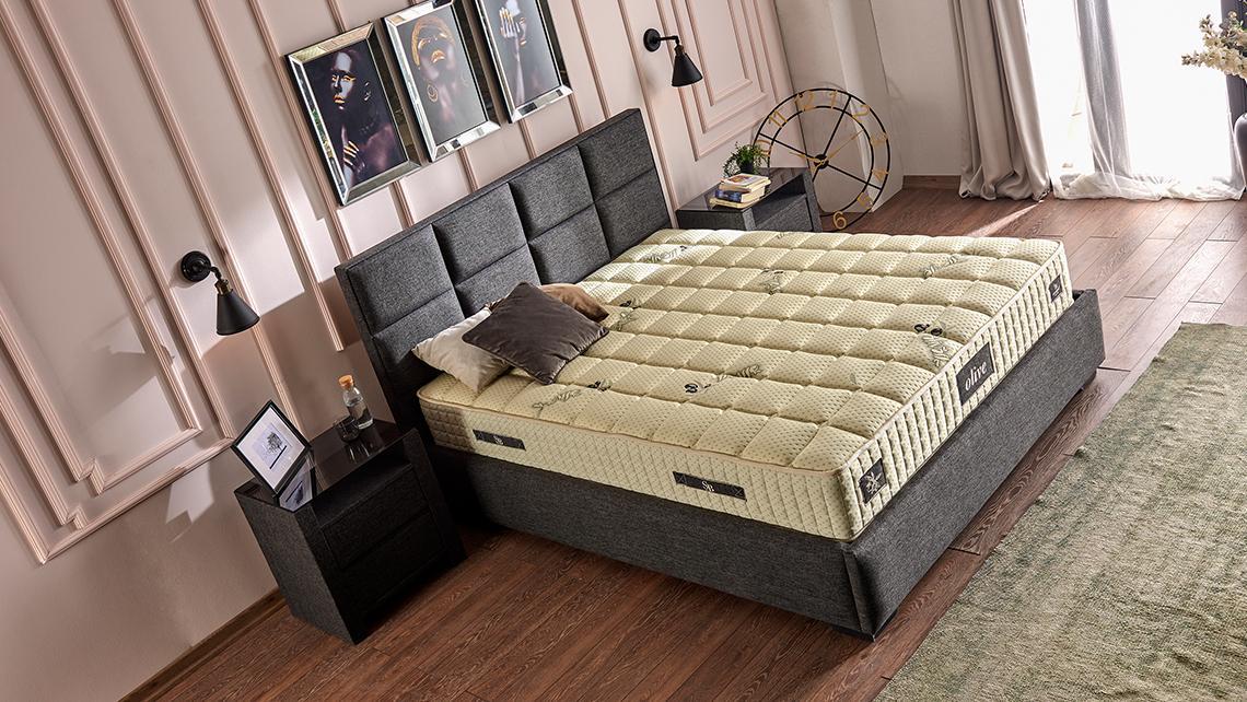 Baza de pat cu tablie si saltea Olive Homs 150×200 cm