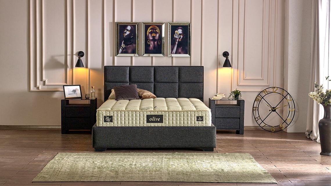 Baza de pat cu tablie si saltea Olive Homs 140×190 cm