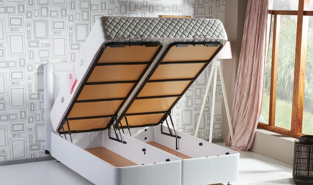 Baza de pat cu tablie si saltea Hypersoft Homs 90x200 cm