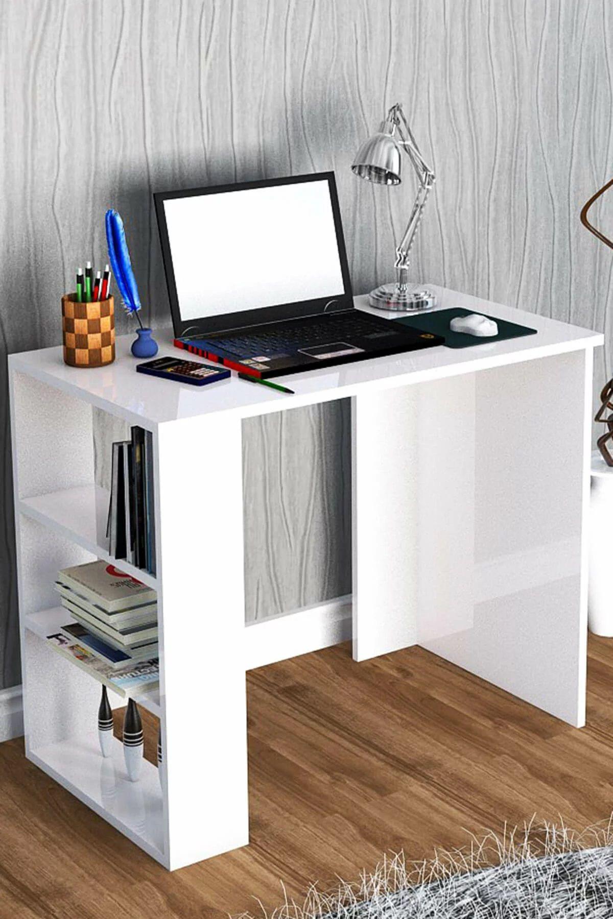 Birou cu rafturi Cool Homs, alb, 90 x 50 x 70 cm, PAL 18 mm