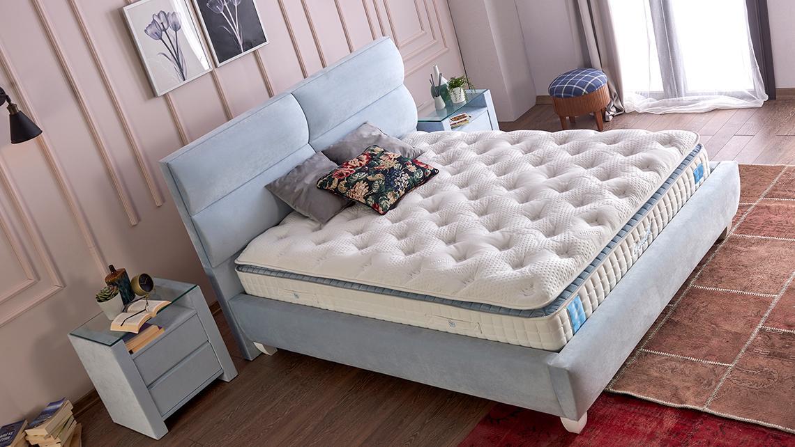 Baza de pat cu tablie si saltea Cloud Homs 140× 190 cm