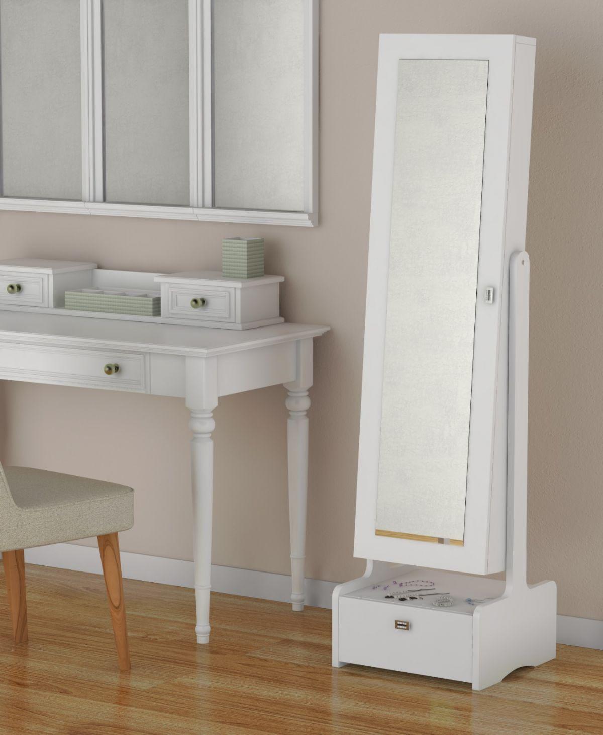 Resigilat: Dulap accesorii cu oglinda si sertar, Ella Homs, alb, 150 x 25 x 41 cm