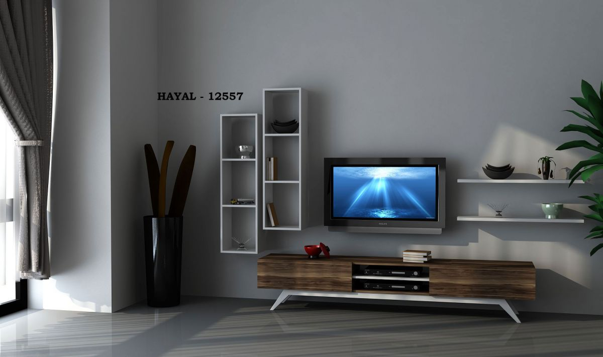 COMODA TV DIN PAL, NEW LIFE HOMS, ALB/NUC, 180 X 43 X 37.5 CM
