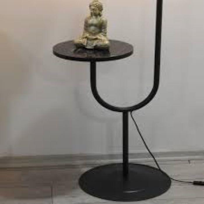 Masuta cu lampadar Decora Homs, negru, 160 x 40 cm, metal/pal 18 mm