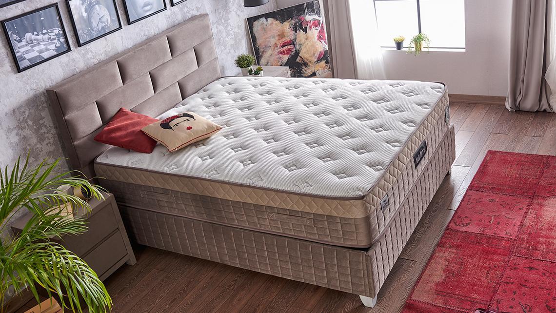 Baza de pat cu tablie si saltea Native Homs 150× 200 cm