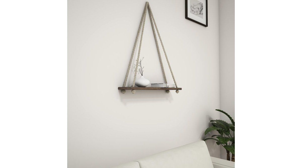 Raft de perete cu sfoara, Simple Homs, 50 x 70 x 15 cm, nuc