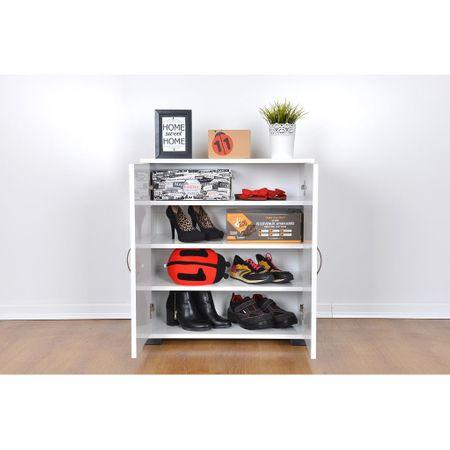 Dulap pantofi din pal, Boema Homs, alb, 79 x 72 x 30 cm