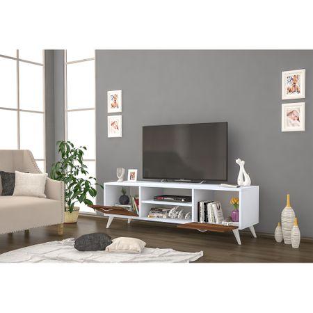 Resigilat: Comoda TV din pal, Adela Homs, alb/nuc, 140 x 40 x 3 cm