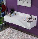 Masa de machiaj suspendata Vanity Homs , 100 x 33 x 39.1 cm, alb