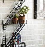 Raft de perete metal, Escape Homs, Negru, 70 x 40 x 10 cm