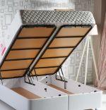 Baza de pat cu tablie si saltea Natural Linen Homs 200× 200 cm
