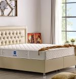 Baza de pat cu lada si tablie tapitata Safir Homs 140x 190 cm