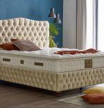 Baza de pat cu tablie si saltea Gold Homs 120× 200 cm