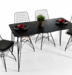 Set masa marmorata cu 4 scaune metal, Dream Homs, negru marmorat 70 x 110 cm