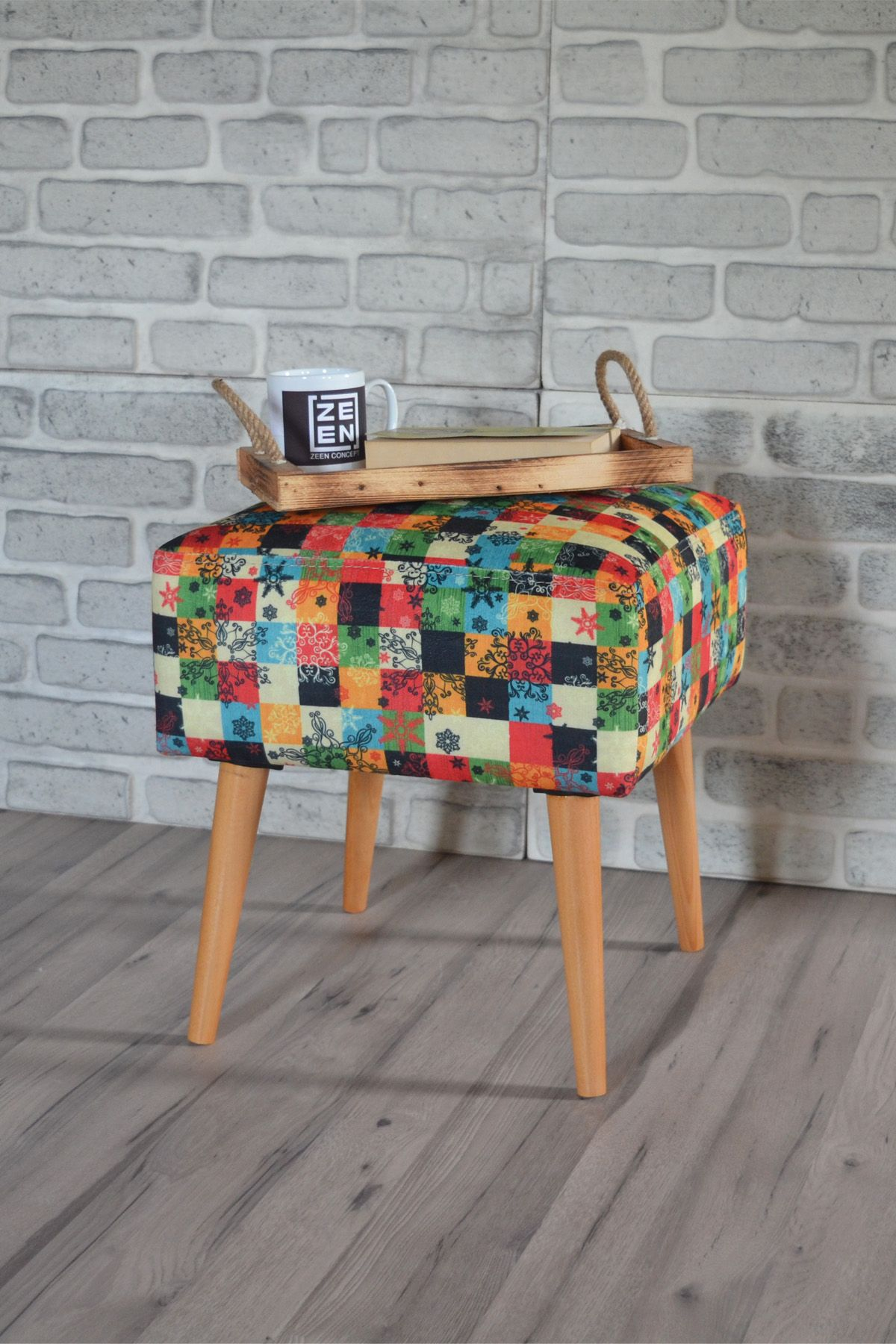 Taburet patrat Care Homs, 42 x 45 x 42 cm, multicolor