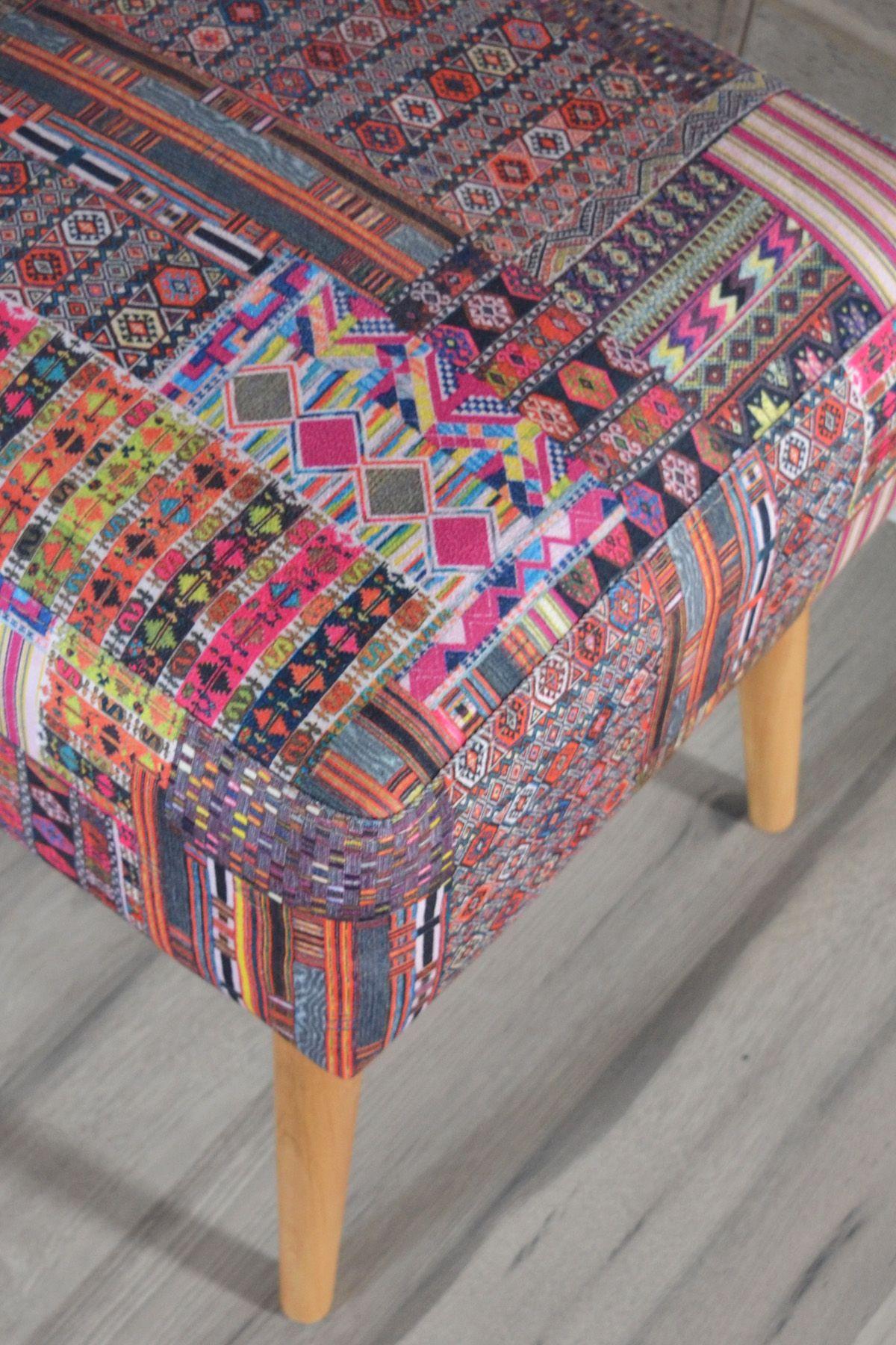 Taburet patrat Etnic Homs, 42 x 45 x 42 cm, multicolor