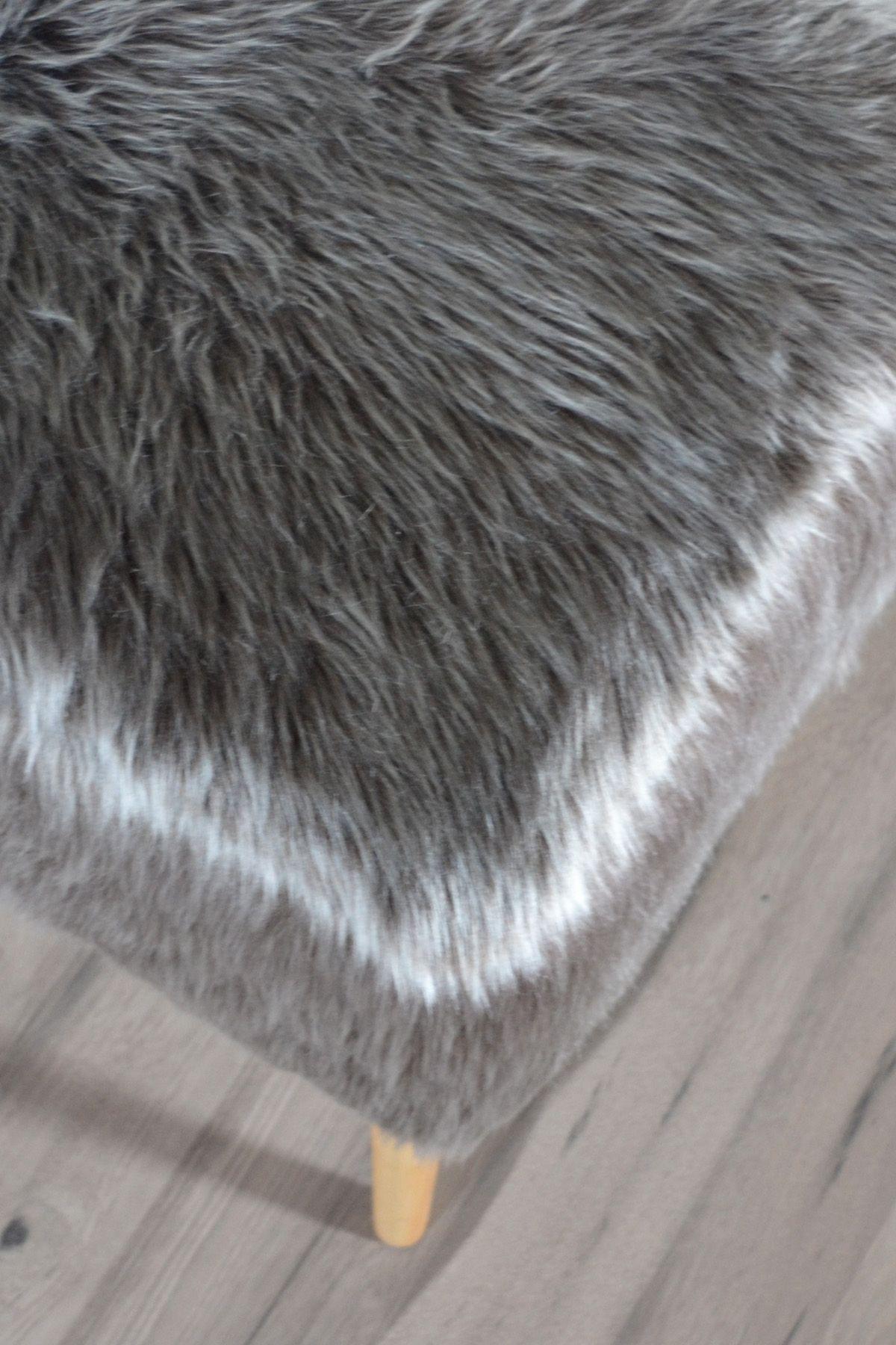 Taburet patrat maro Dulce Homs 42 x 45 x 42 cm, blana eco