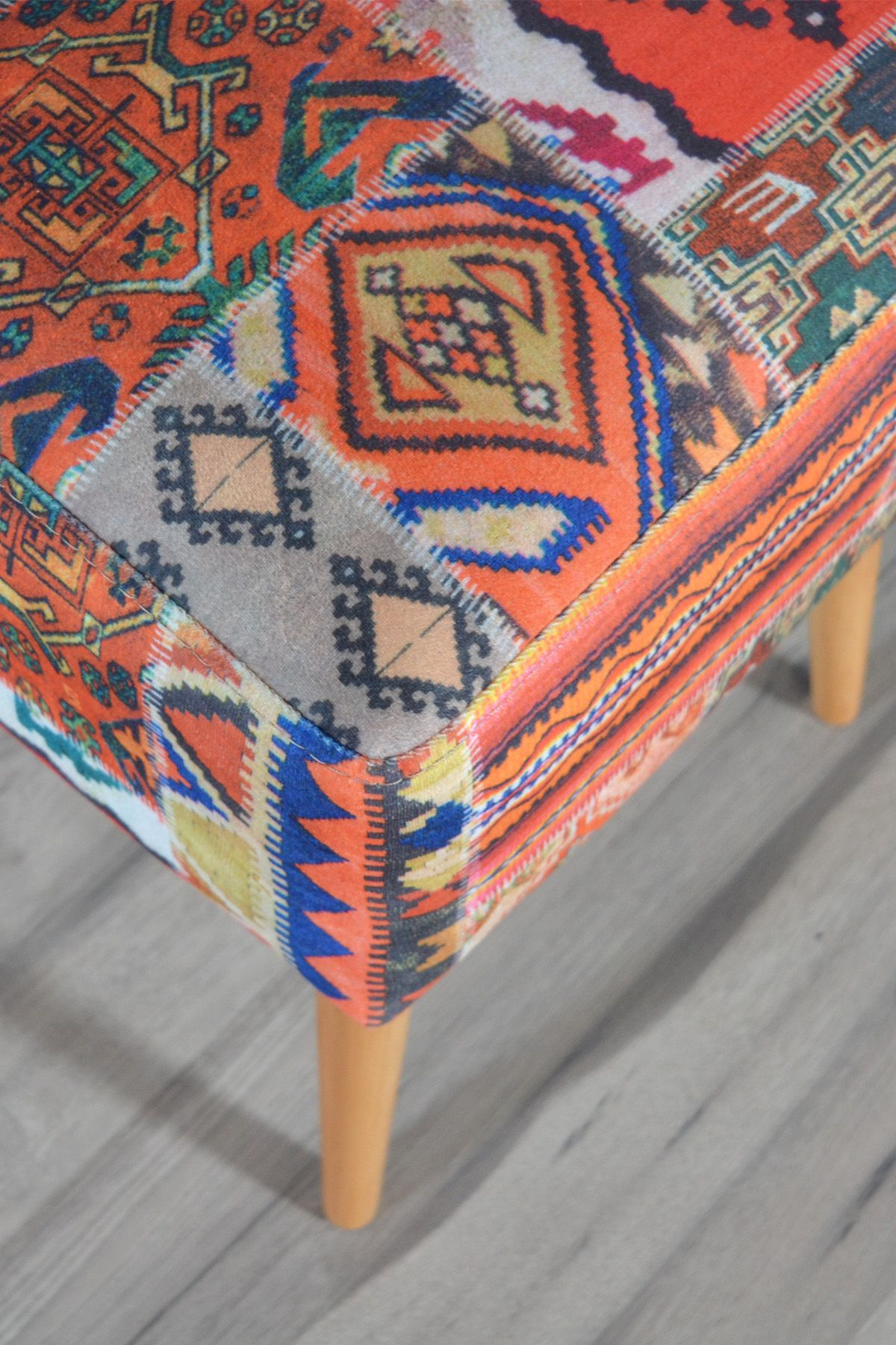 Taburet patrat Kilim Homs 42 x 45 x 42 cm, multicolor