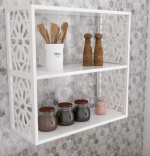 Resigilat Raft de perete din PAL/PPE, Lulu Homs, alb, 50 x 53 x 20 cm