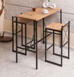 Set masa + 2 scaune tip bar Alexa Homs, 100 x 45 x 92 cm, nuc/negru