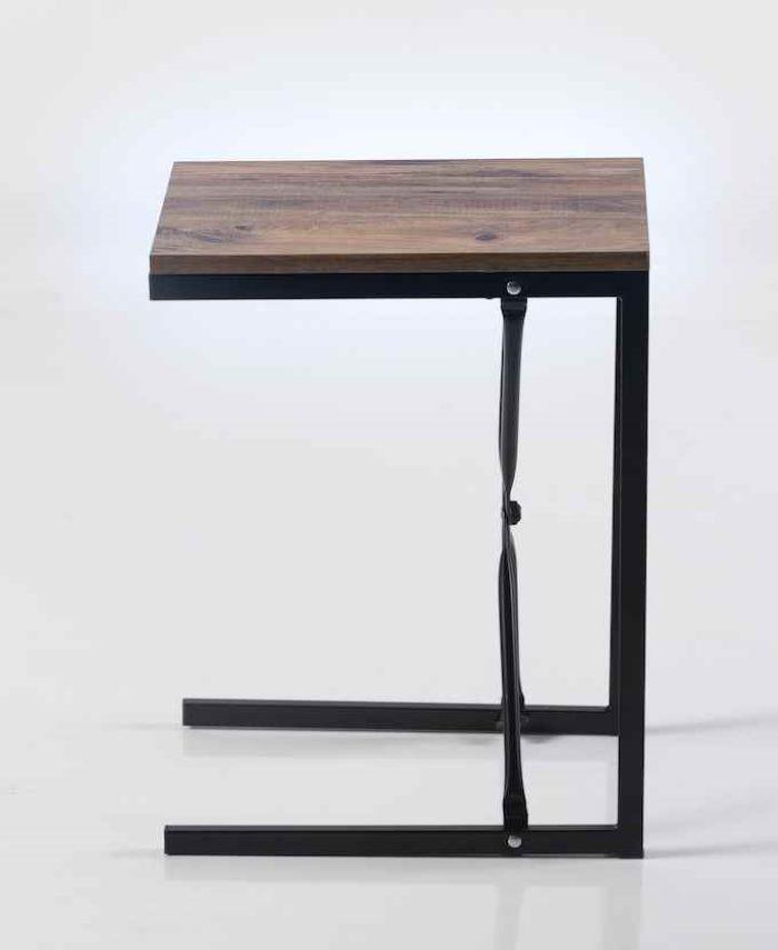 Masuta de cafea in stil industrial, Zen Homs, 30 x 60 x 45 cm, negru/nuc