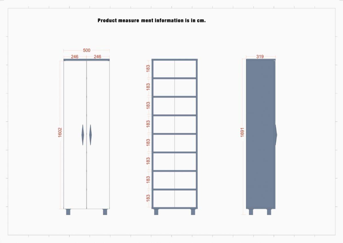 Dulap cu 2 usi Homs, alb, 169.1 x 50 x 31.9 cm  SD103-418749