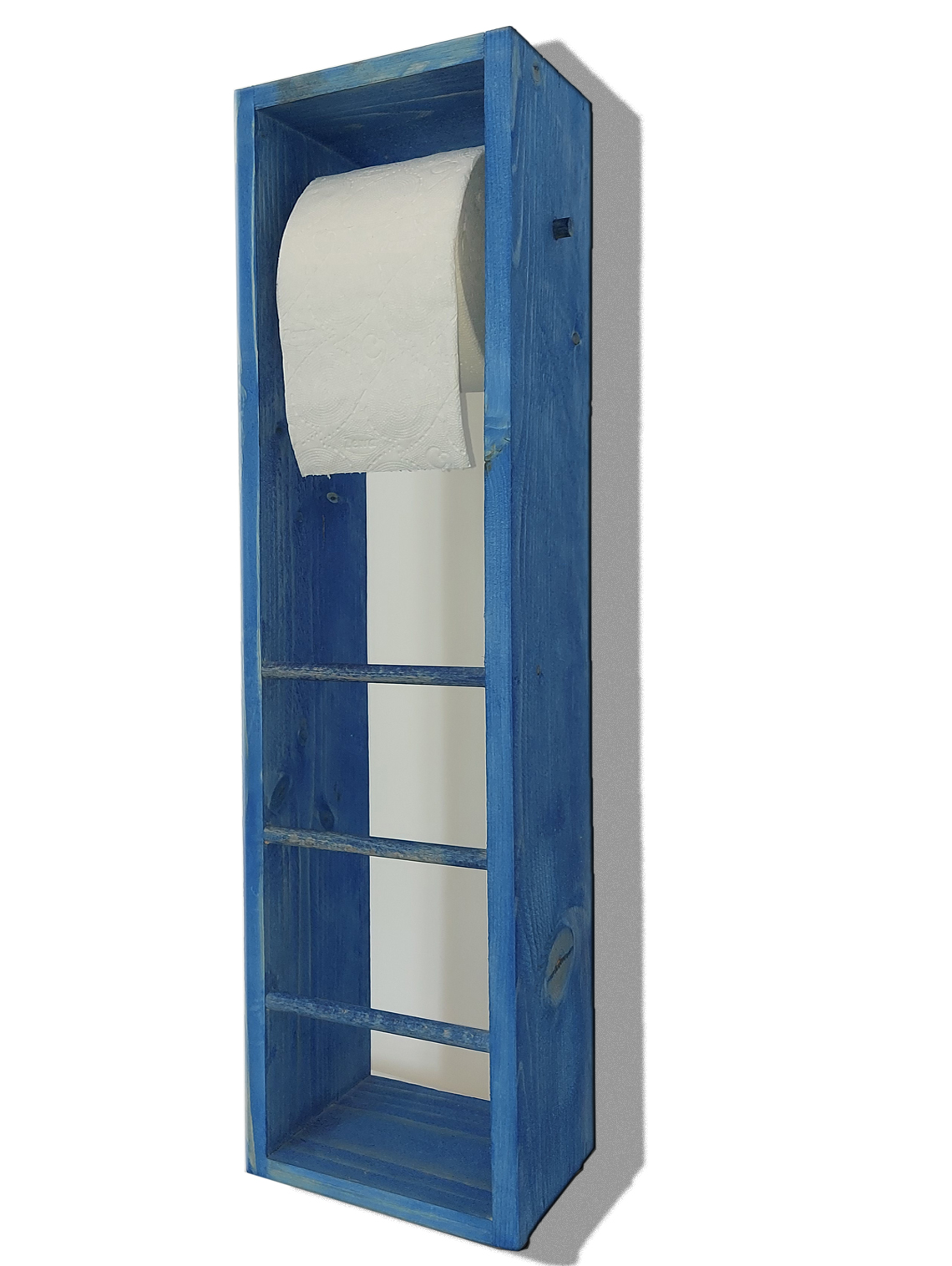 Suport hartie igienica din lemn Homs, 62x14 cm,albastru